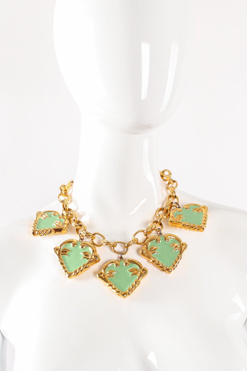 Vintage Escada Mint Enamel Hearts Charm Necklace on mannequin at Recess Los Angeles