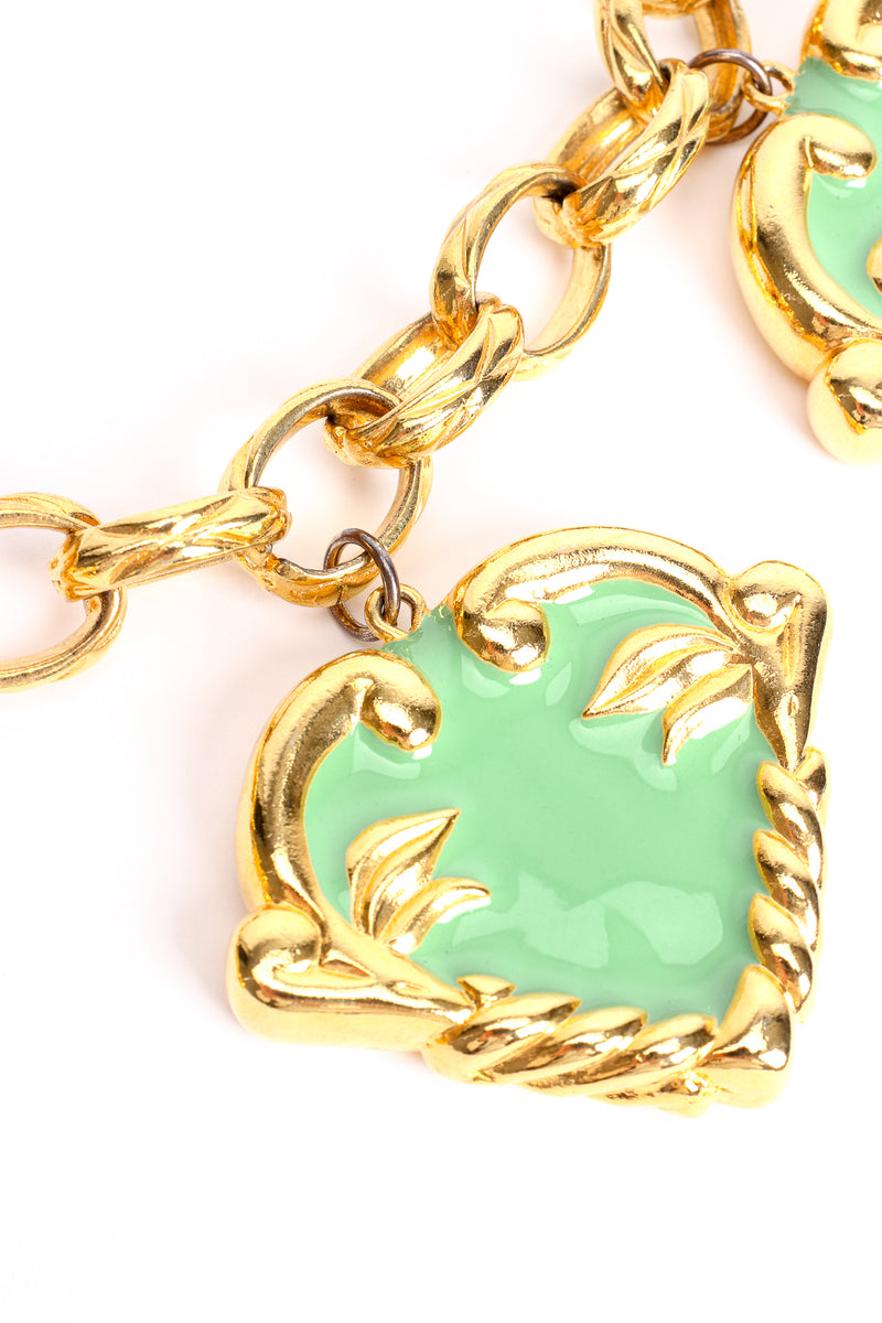 Vintage Escada Mint Enamel Hearts Charm Necklace jump ring wear at Recess Los Angeles