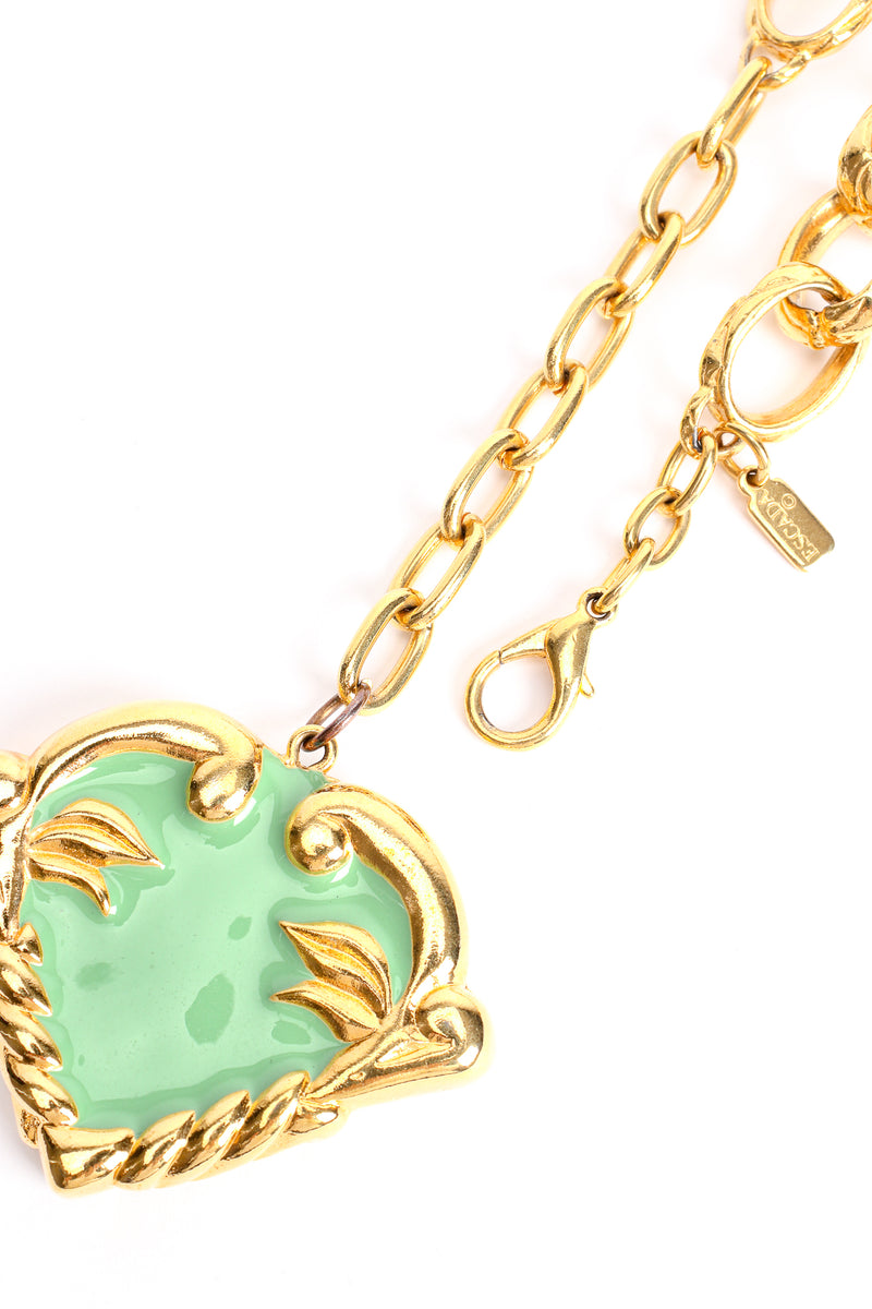Vintage Escada Mint Enamel Hearts Charm Necklace clasp at Recess Los Angeles