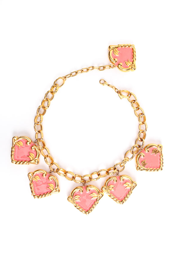 Vintage Escada Pink Enamel Hearts Charm Necklace at Recess Los Angeles