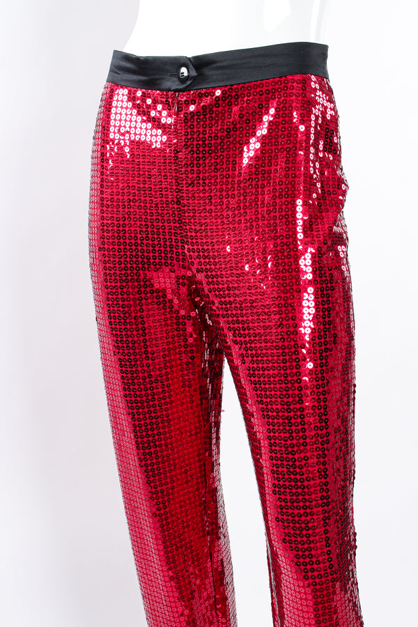 Vintage Escada Sequin Stirrup Pant on Mannequin waist at Recess Los Angeles