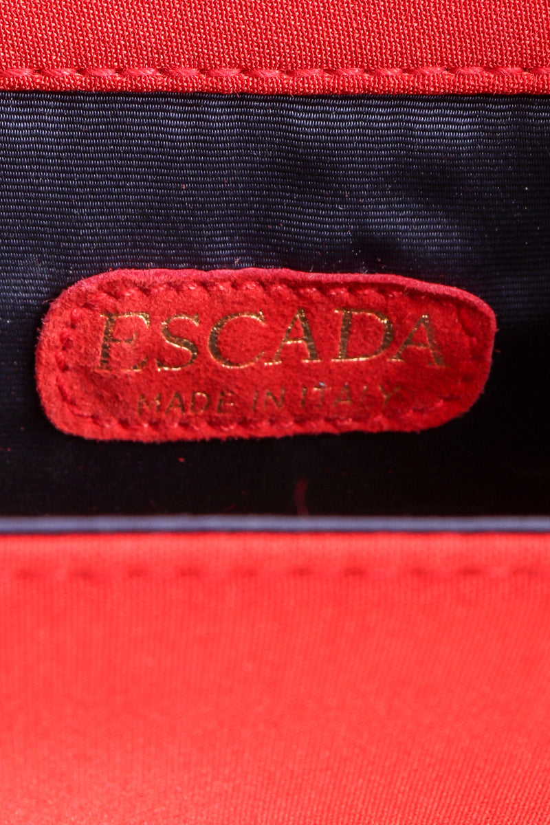 Vintage Escada Mini Crossbody Envelope Bag leather label at Recess Los Angeles