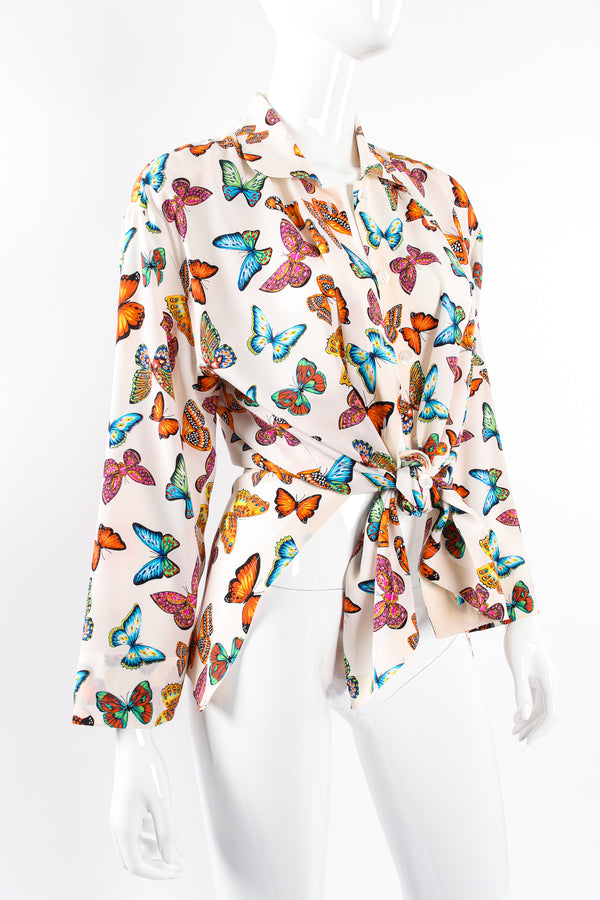 Vintage Escada Rainbow Butterfly Silk Tunic Blouse on Mannequin tie at Recess Los Angeles