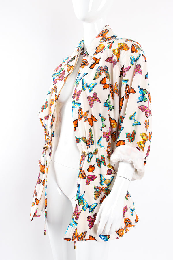 Vintage Escada Silk Butterfly Windbreaker Jacket on Mannequin angle open at Recess Los Angeles