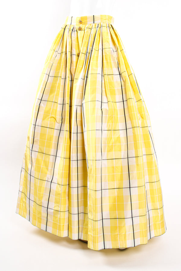 Vintage Escada Plaid Taffeta Ball Skirt on Mannequin front angle at Recess Los Angeles