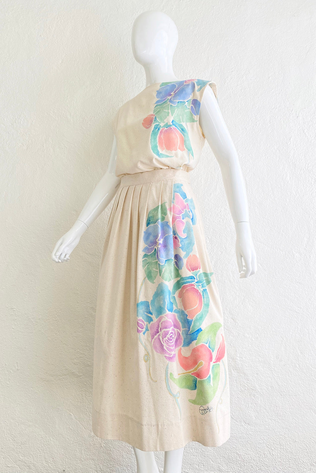 Vintage Estelle Floral Painted Silk Top & Skirt Set on Mannequin angle crop at Recess Los Angeles