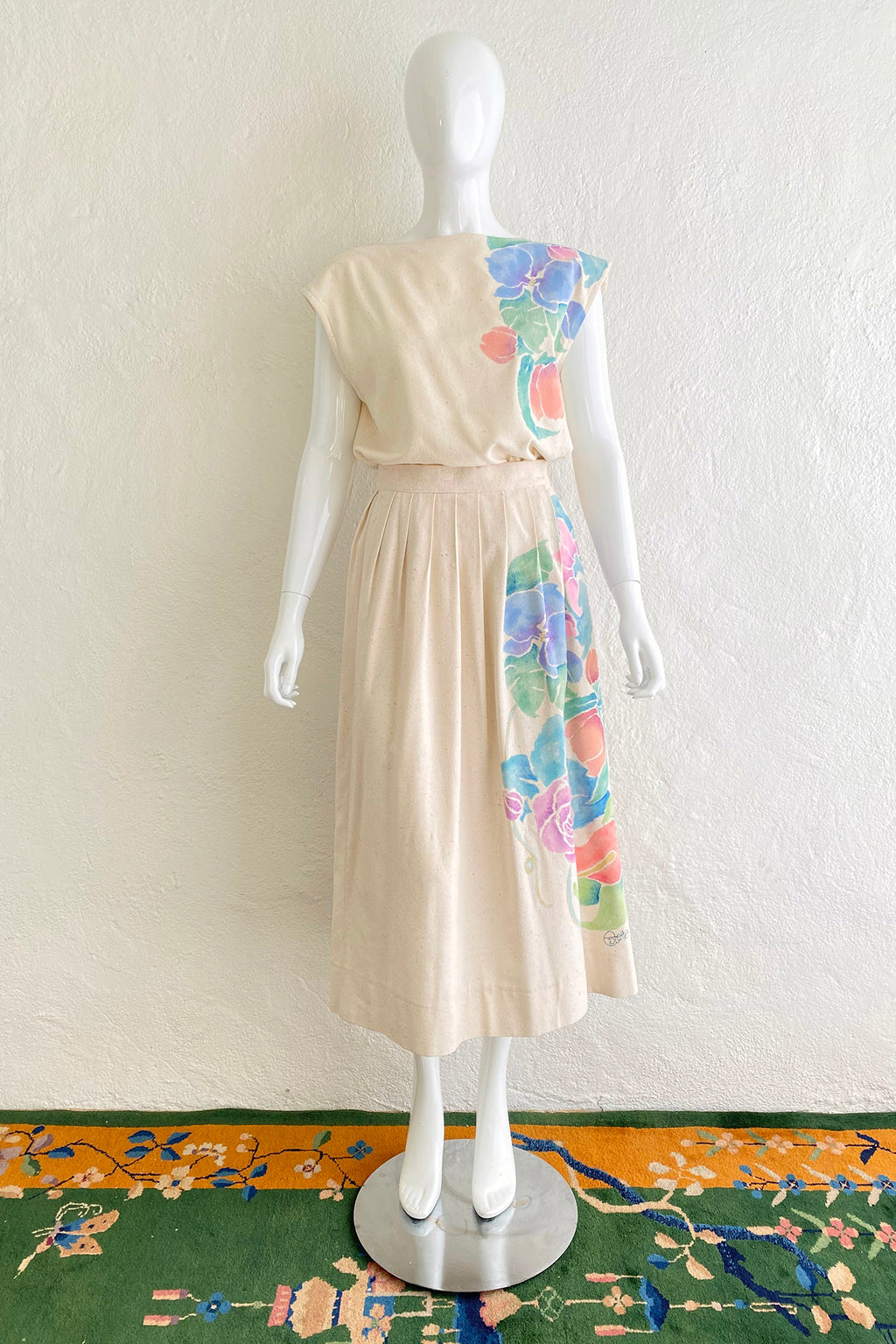 Vintage Estelle Floral Painted Silk Top & Skirt Set on Mannequin front at Recess Los Angeles