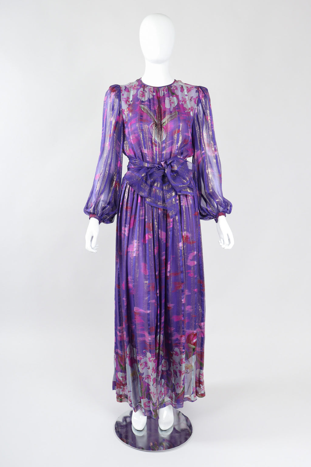 Recess Los Angeles Vintage Esther Cherry Toronto Purple Paint Palette Twilight Orchid Silk Chiffon Dress