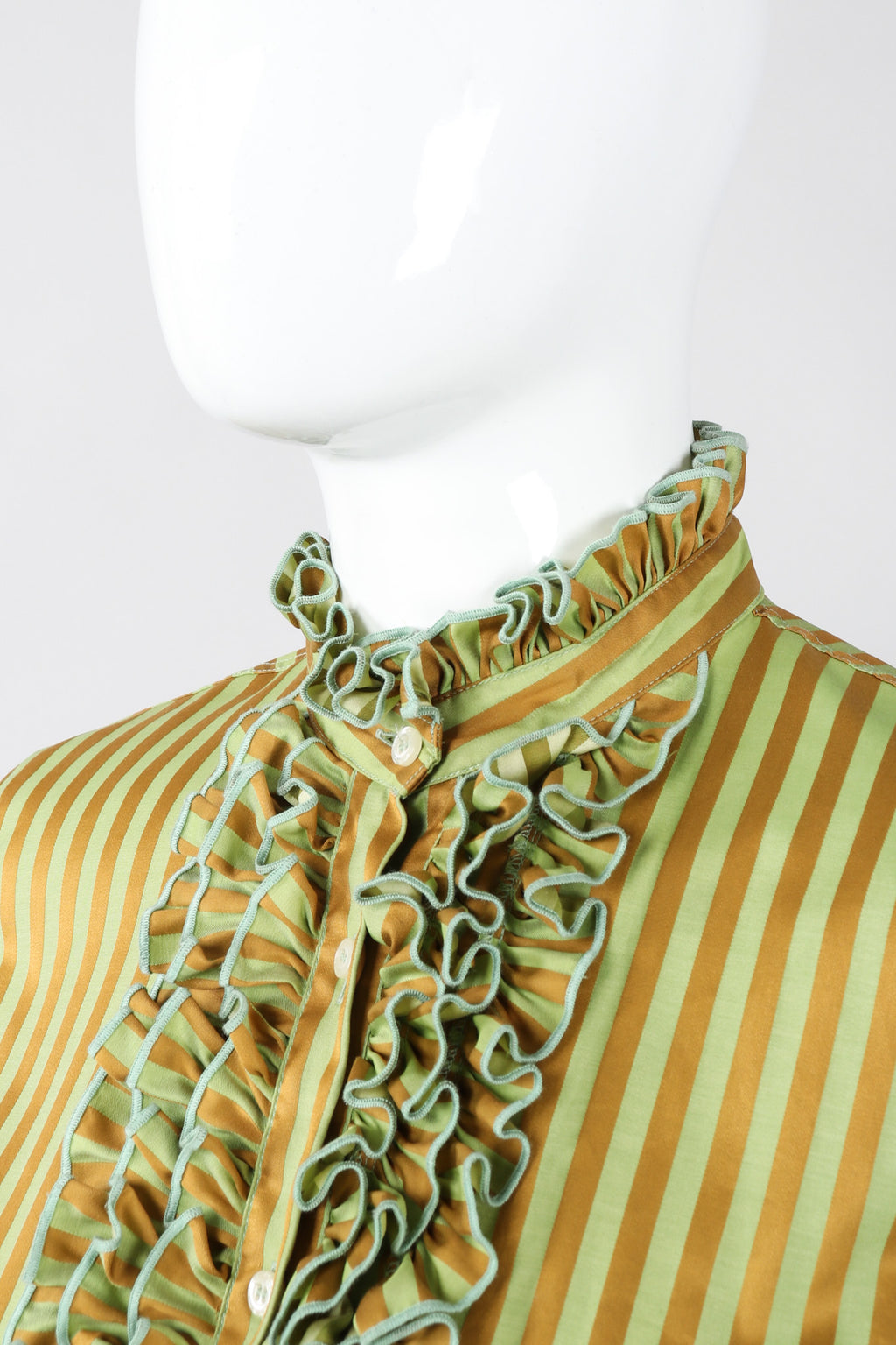 Recess Los Angeles Vintage Etro Cotton Sateen Ruffle Stripe Blouse