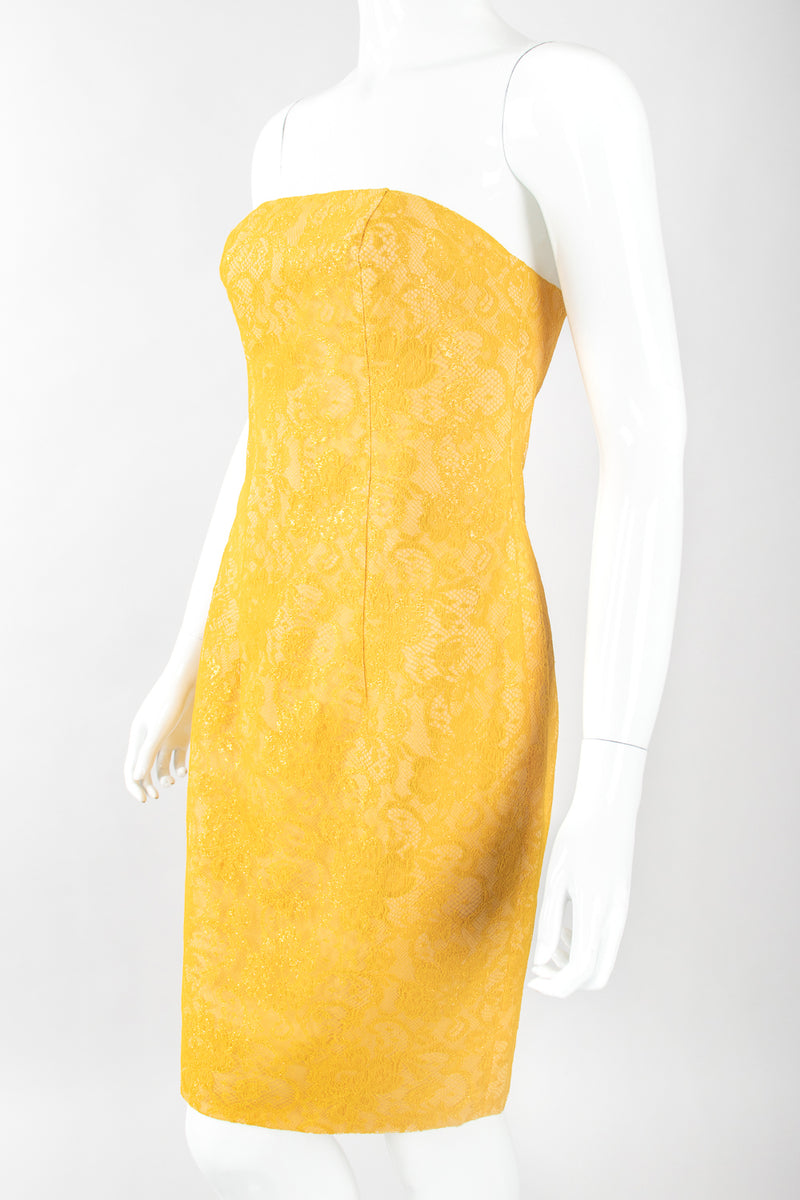 Recess Designer Consignment Vintage Eva Chun Strapless Metallic Lace Cocktail Sheath Dress