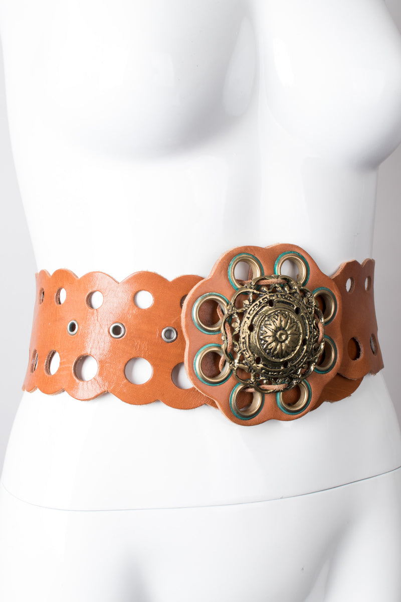 Vintage Grecian Leather Eyelet Medallion Belt