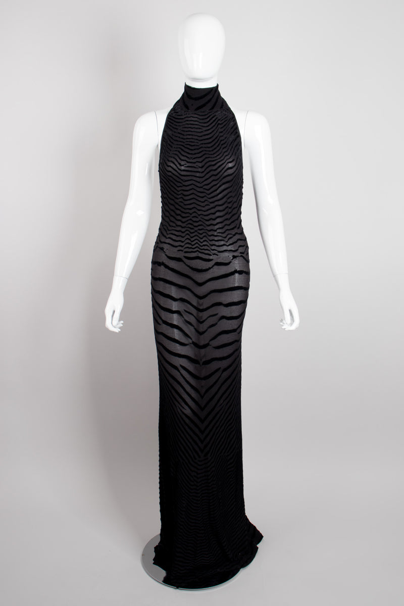 Fred Hayman Sheer Burnout Velvet Jersey Tiger Backless Halter Gown