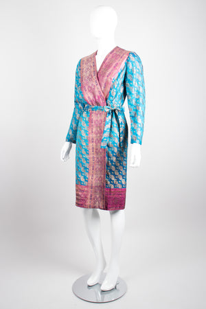 Felicia Viti Paisley Bronze Brocade Wrap Dress Smoking Robe