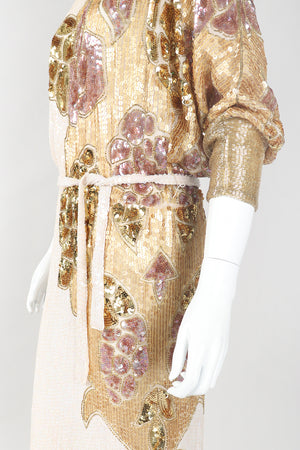 Recess Designer Consignment Vintage Fab Connection Beaded Sequined Blouson Batwing Dress Los Angele resale