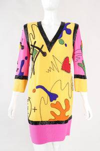 Recess Los Angeles Designer Consignment Vintage Fabrice Silhouette Colorblock Beaded School Classroom Doodle Math Shift Dress