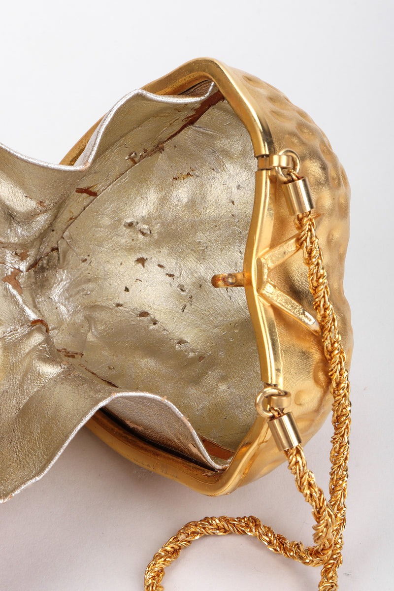 Recess Los Angeles Vintage Fabrizio Verniani Gold Strawberry Clutch Bag Minaudiere