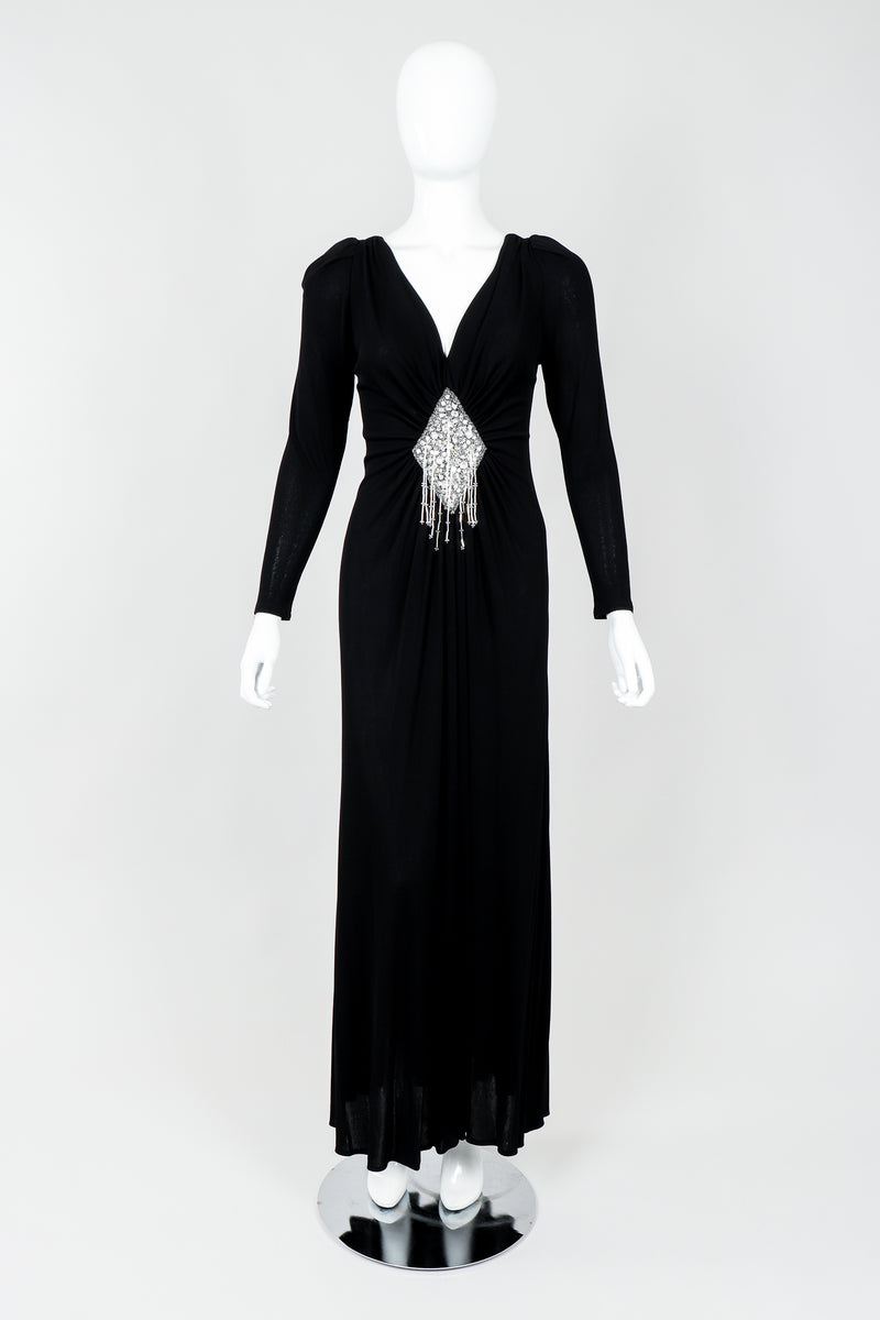 Vintage Felix Arbeo Draped Diamond Bead Waist Gown on Mannequin front at Recess Los Angeles