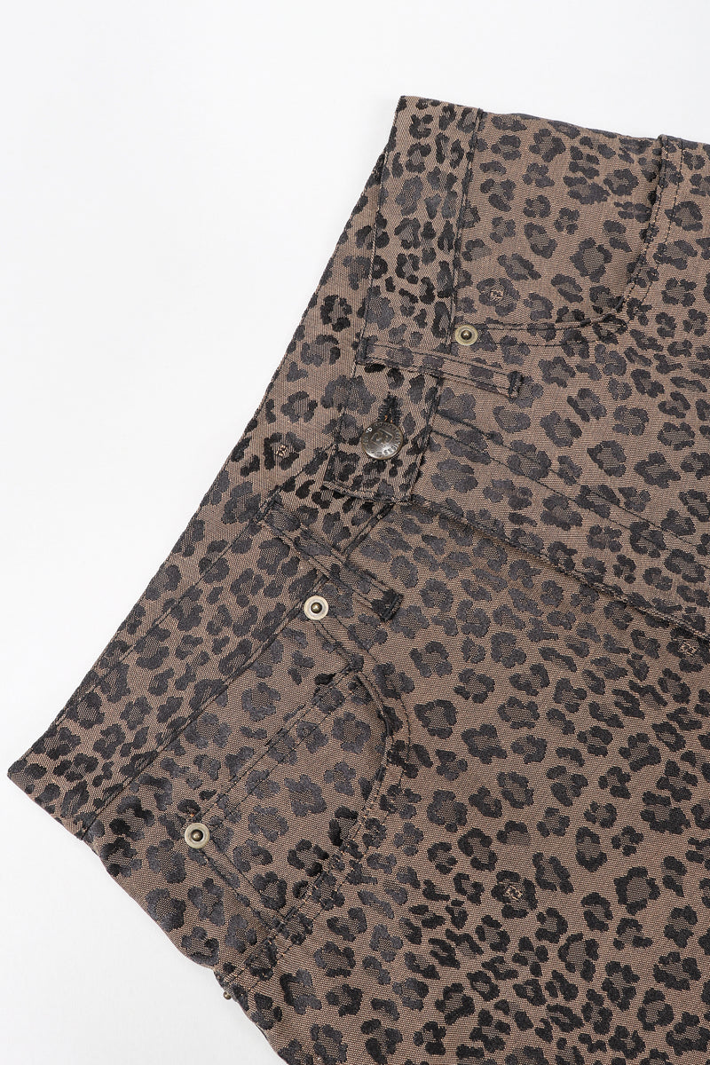 Recess Vintage Fendi Brown Leopard Jean, waistband on white background