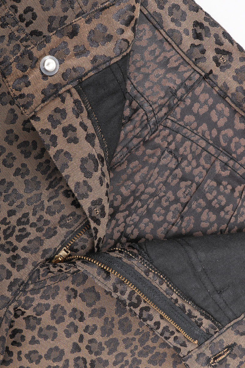 Recess Vintage Fendi Brown Leopard Jean, button fly on white background