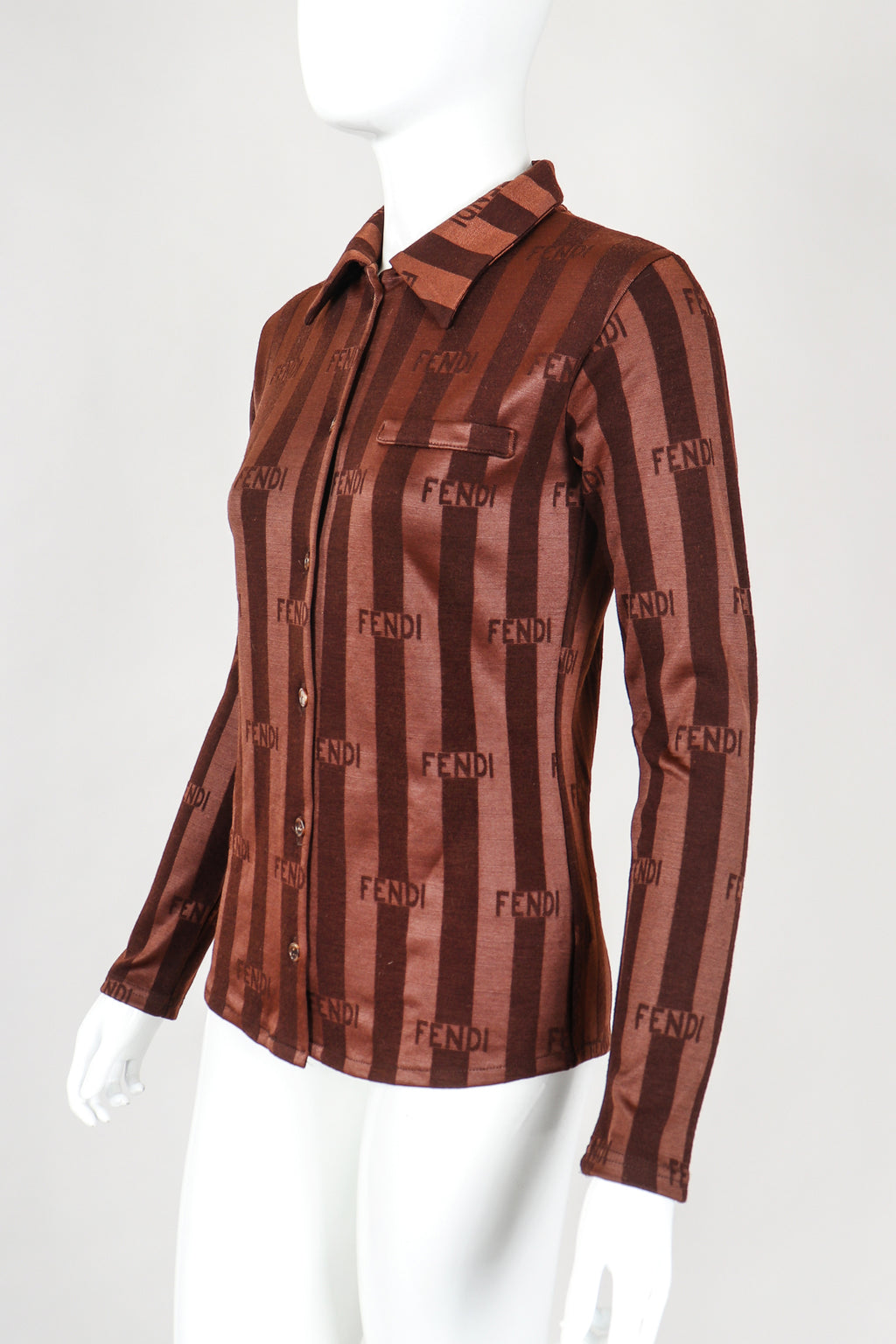 Recess Vintage Fendi Brown Striped Knit Collared Shirt on Mannequin, side angle