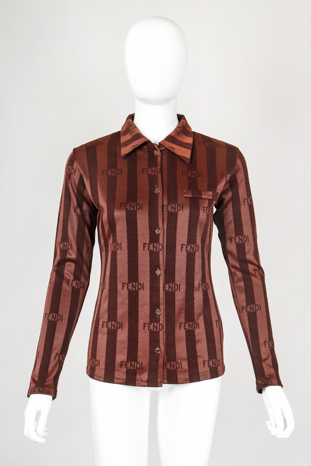 Recess Vintage Fendi Brown Shiny Striped Knit Collared Shirt on Mannequin, front