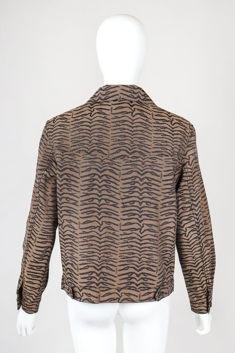 Recess Vintage Fendi Brown Tiger Twill Jean Jacket, back view on Mannequin