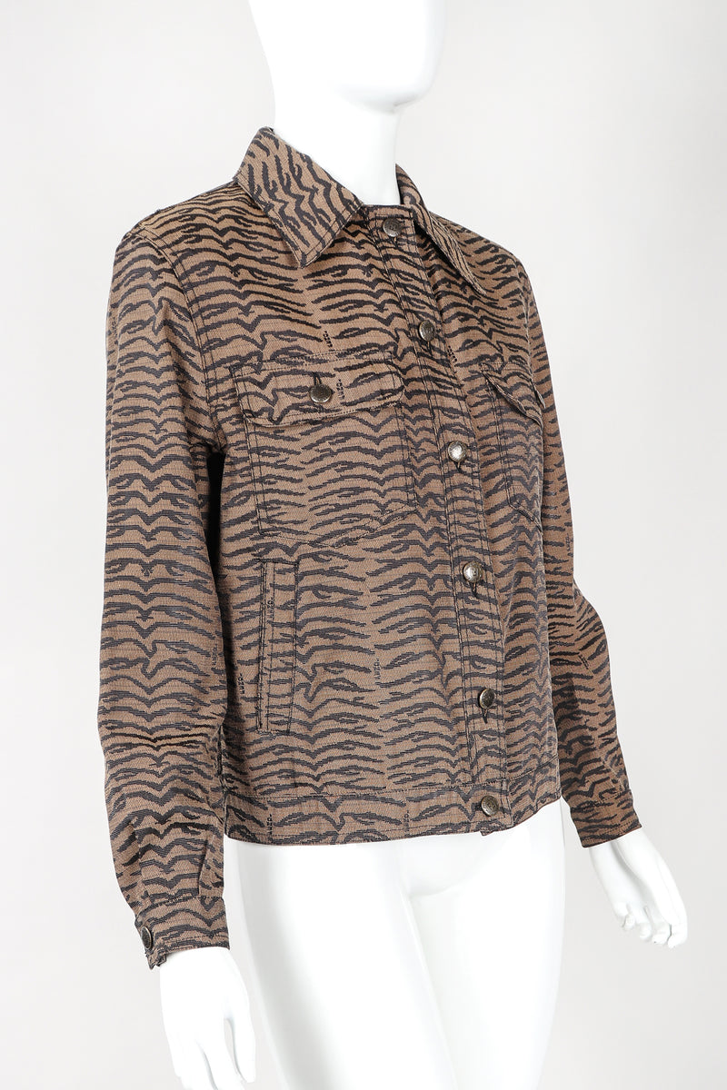 Recess Vintage Fendi Brown Tiger Twill Jean Jacket on Mannequin, Side Angle