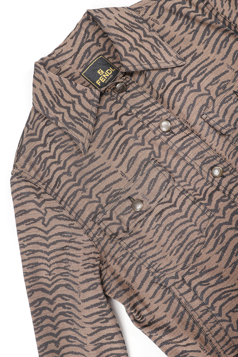 Recess Vintage Fendi Brown Tiger Twill Jean Jacket on white background
