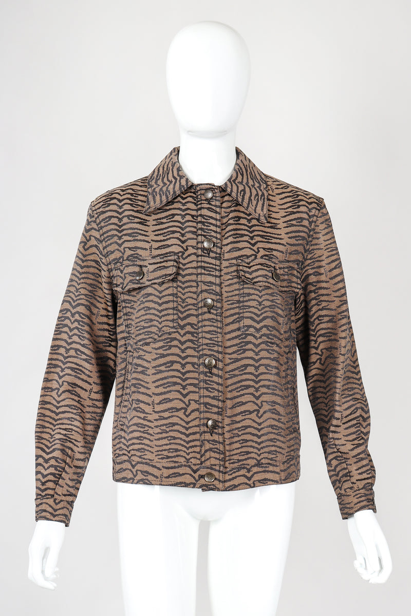 Recess Vintage Fendi Brown Tiger Twill Jean Jacket, buttoned on Mannequin
