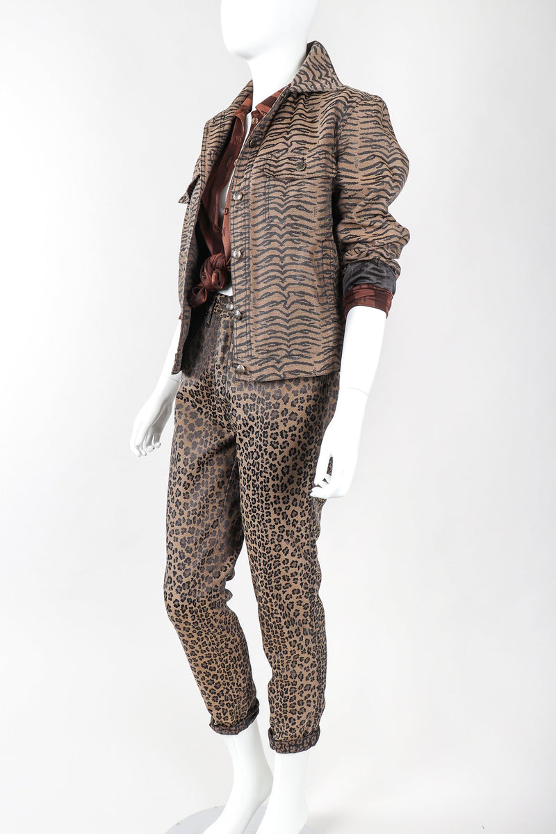 Recess Vintage Fendi Outfit with Tiger Jean Jacket, Leopard Jeans, & Stripe Blouse on mannequin