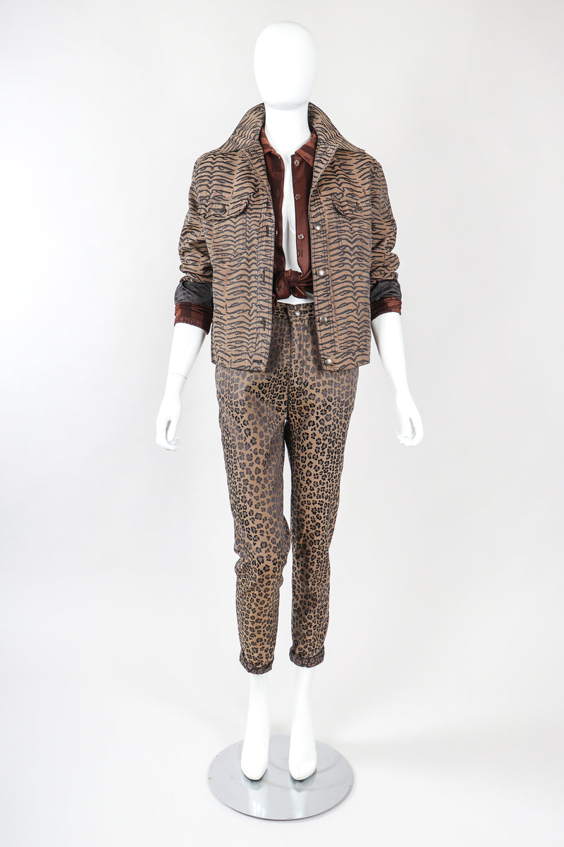 Recess Vintage Fendi Outfit with Tiger Jacket, Leopard Jean, & Stripe Blouse on mannequin