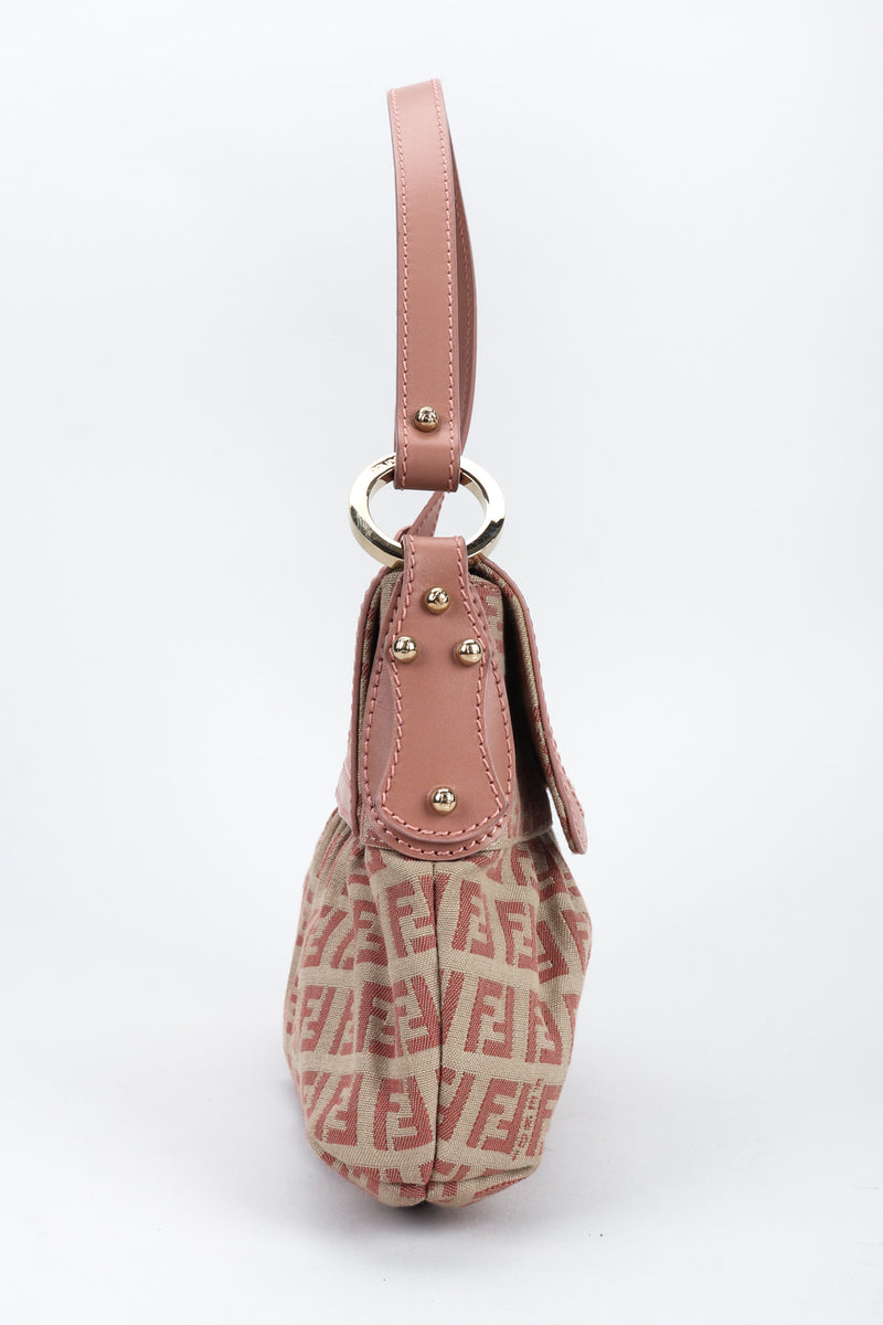 Recess Los Angeles Vintage Fendi Zucca Double F Monogram Magnetic Closure Tan Pink Leather Strap