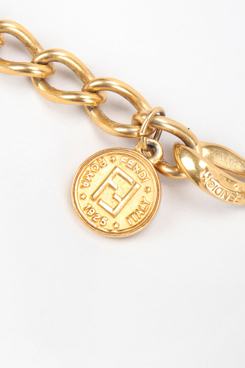 Recess Vintage Fendi Gold Astrology Symbol Collar Necklace Logo Charm Close Up