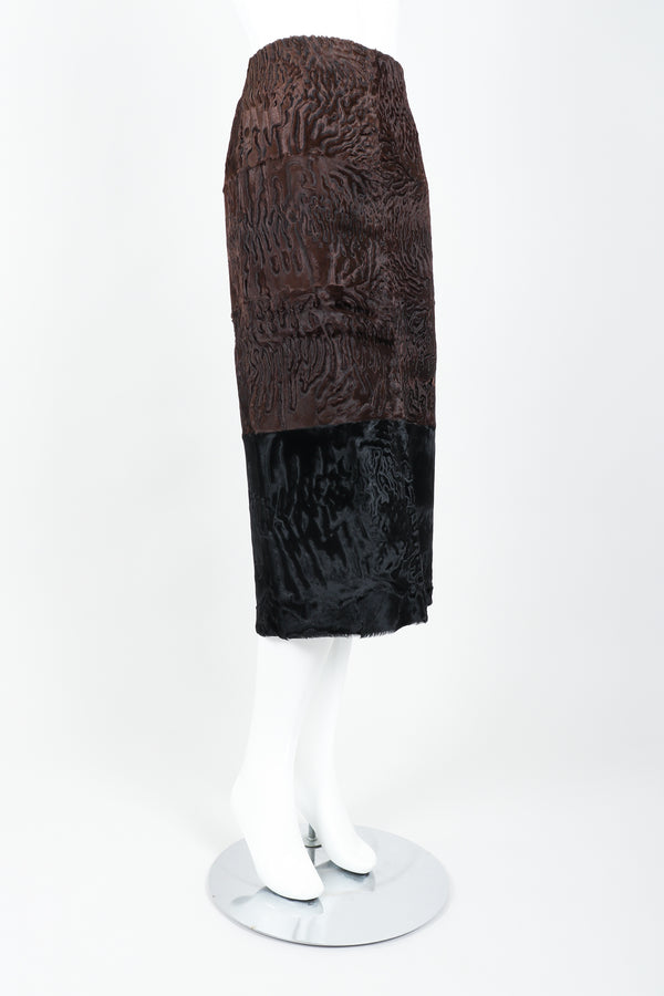 Vintage Fendi Persian Lamb Fur Midi Pencil Skirt on Mannequin side at Recess Los Angeles