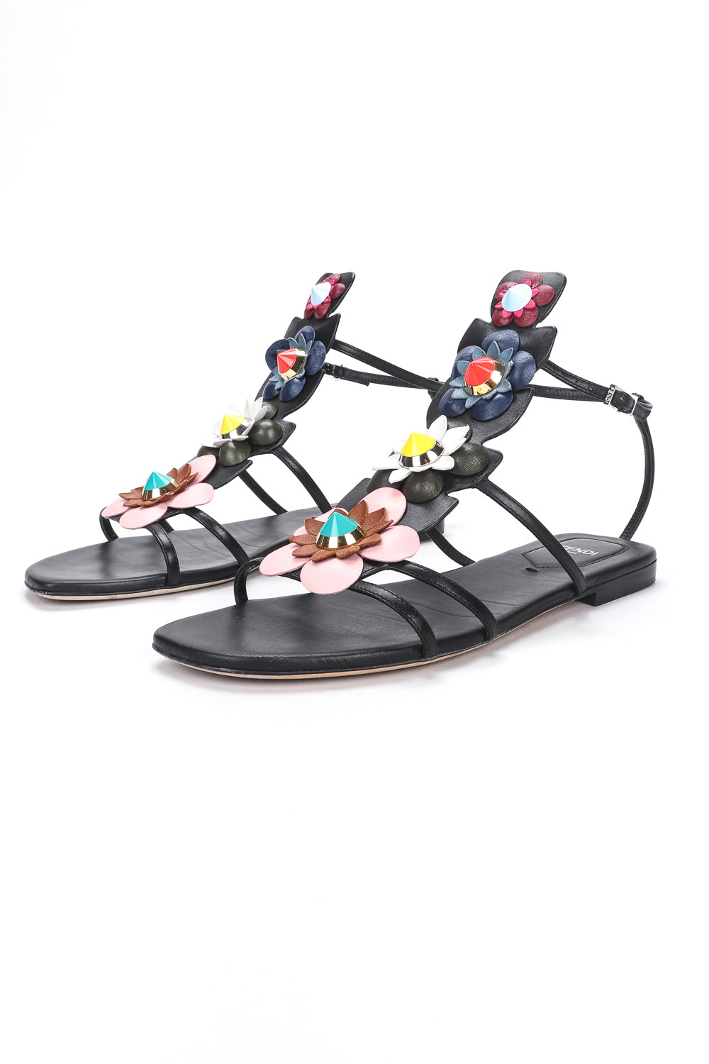 Recess Designer Consignment Vintage Fendi 2016 Flowerland Gladiator Leather Sandals Los Angeles Resale