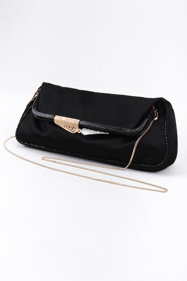 Recess Los Angeles Vintage Fendi Satin Snake Baguette Clutch Bag