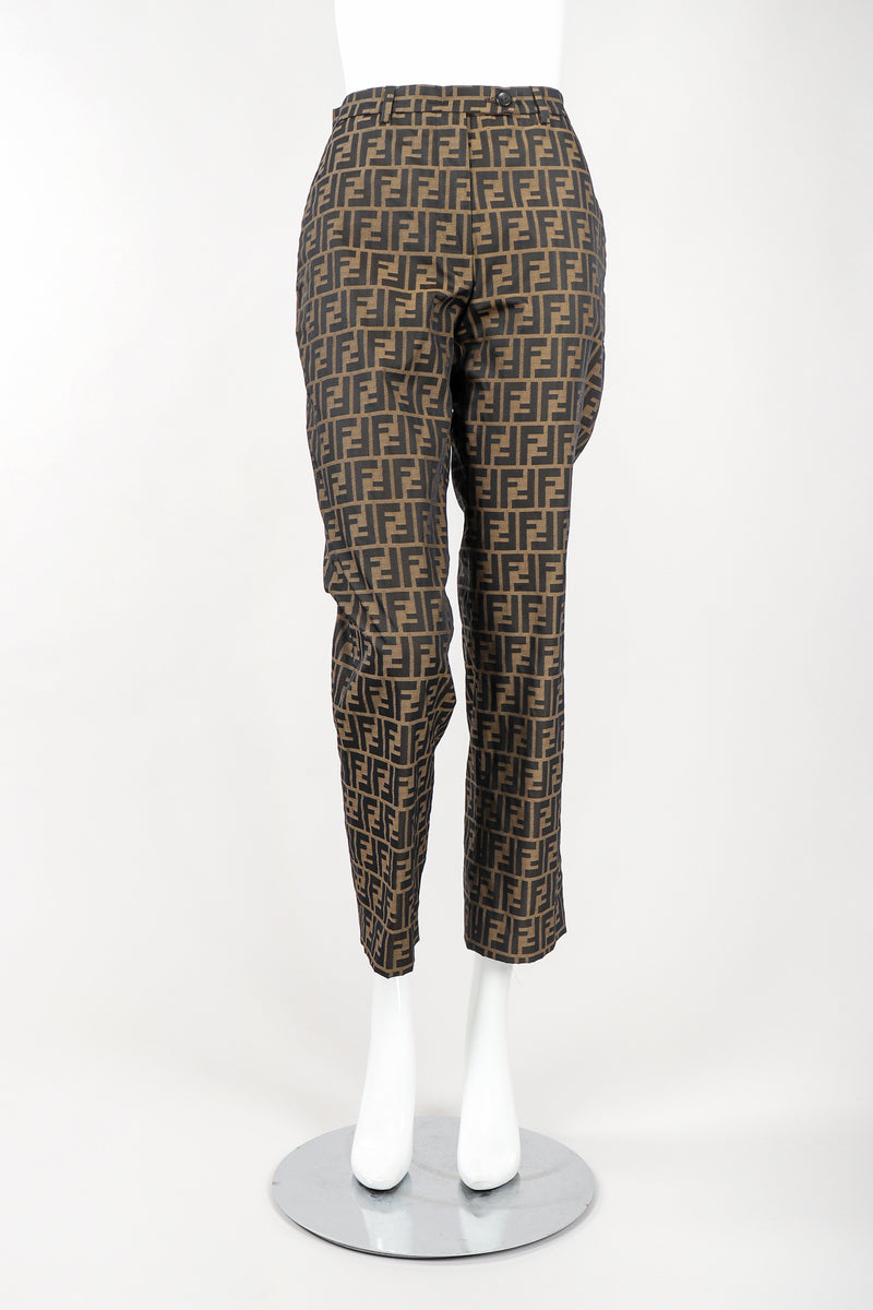 Recess Vintage Fendi Brown Monogram Zucca Logo Pant, Front View On Mannequin