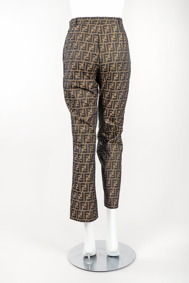 Recess Vintage Fendi Brown Monogram Zucca Logo Pant, Back View On Mannequin