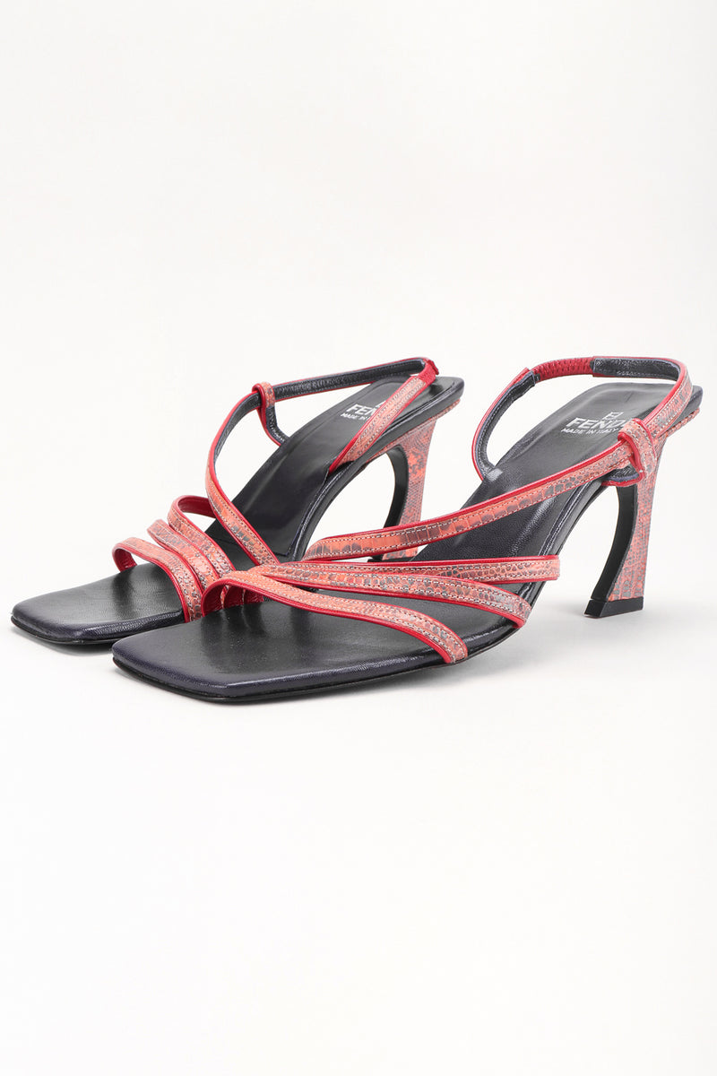 Recess Los Angeles Designer Consignment Resale Recycled Vintage Fendi Square Toe Strappy Snake Sandals