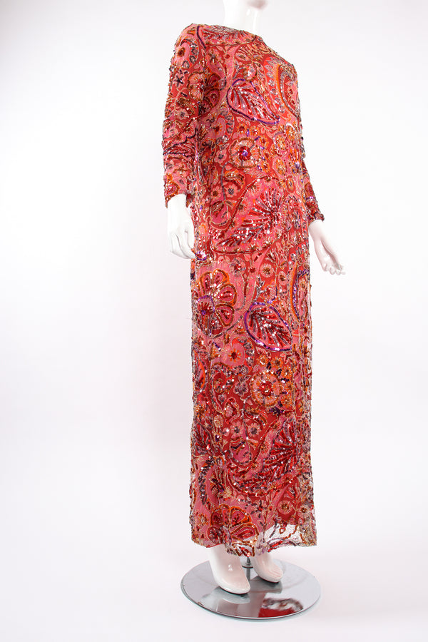 Vintage Ferdinando Sarmi Sequined Mesh Shift Dress on mannequin angle at Recess Los Angeles