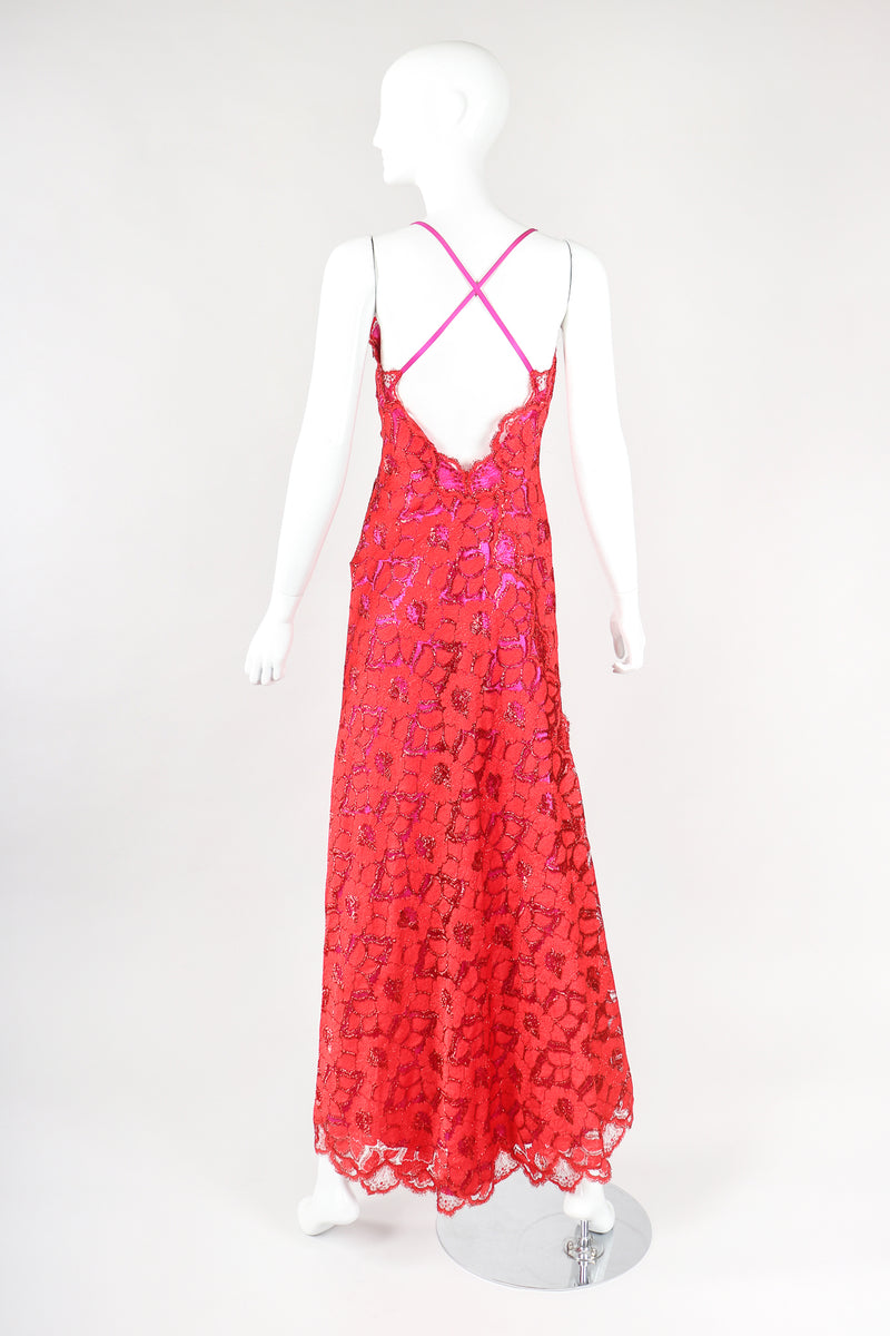 Recess Designer Consignment Vintage Fernando Sanchez Pink Red Metallic Lace Lamé Sweetheart Crossback Gown Los Angeles Resale