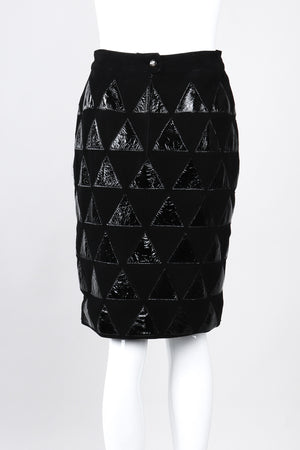 Recess Los Angeles Vintage Salvatore Ferragamo Suede Patent Leather Triangle Applique Pencil Skirt