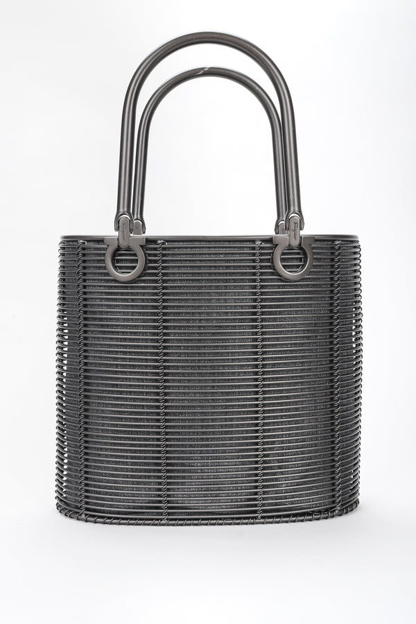 Recess Designer Consignment Vintage Ferragamo Gunmetal Metal Cage Mini Tote Bag Los Angeles Resale
