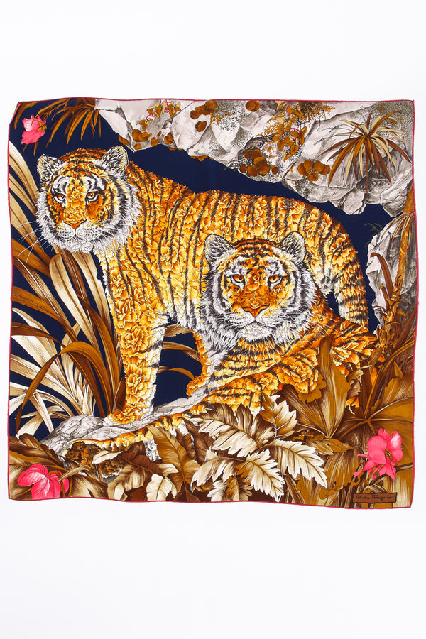 Vintage Salvatore Ferragamo Tropical Tiger Blossom Silk Scarf at Recess Los Angeles