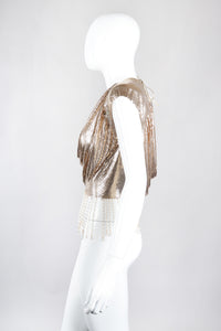 Recess Los Angeles Vintage Ferrara Liquid Gold Double Cowl Metal Mesh Fringe Top