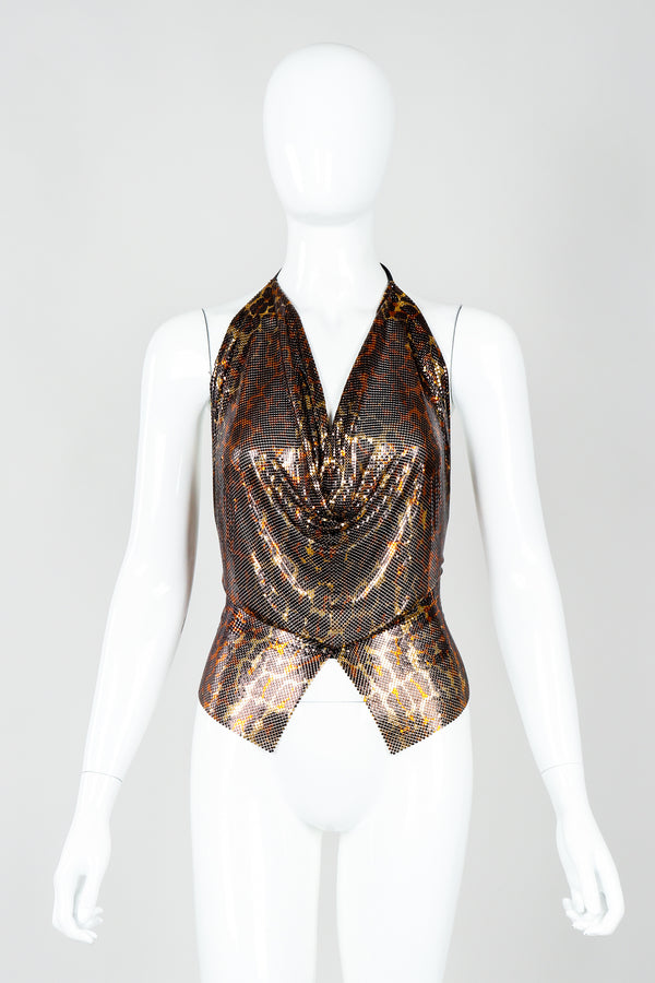 Vintage Anthon Ferrara Bronze Leopard Liquid Metal Mesh Halter Tie Top on Mannequin front at Recess