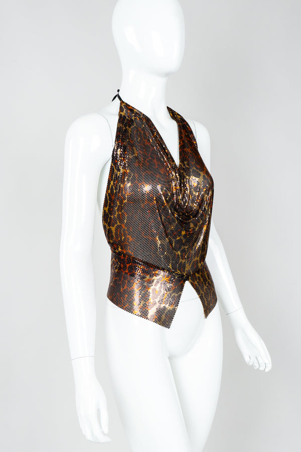 Vintage Anthon Ferrara Bronze Leopard Liquid Metal Mesh Halter Tie Top on Mannequin