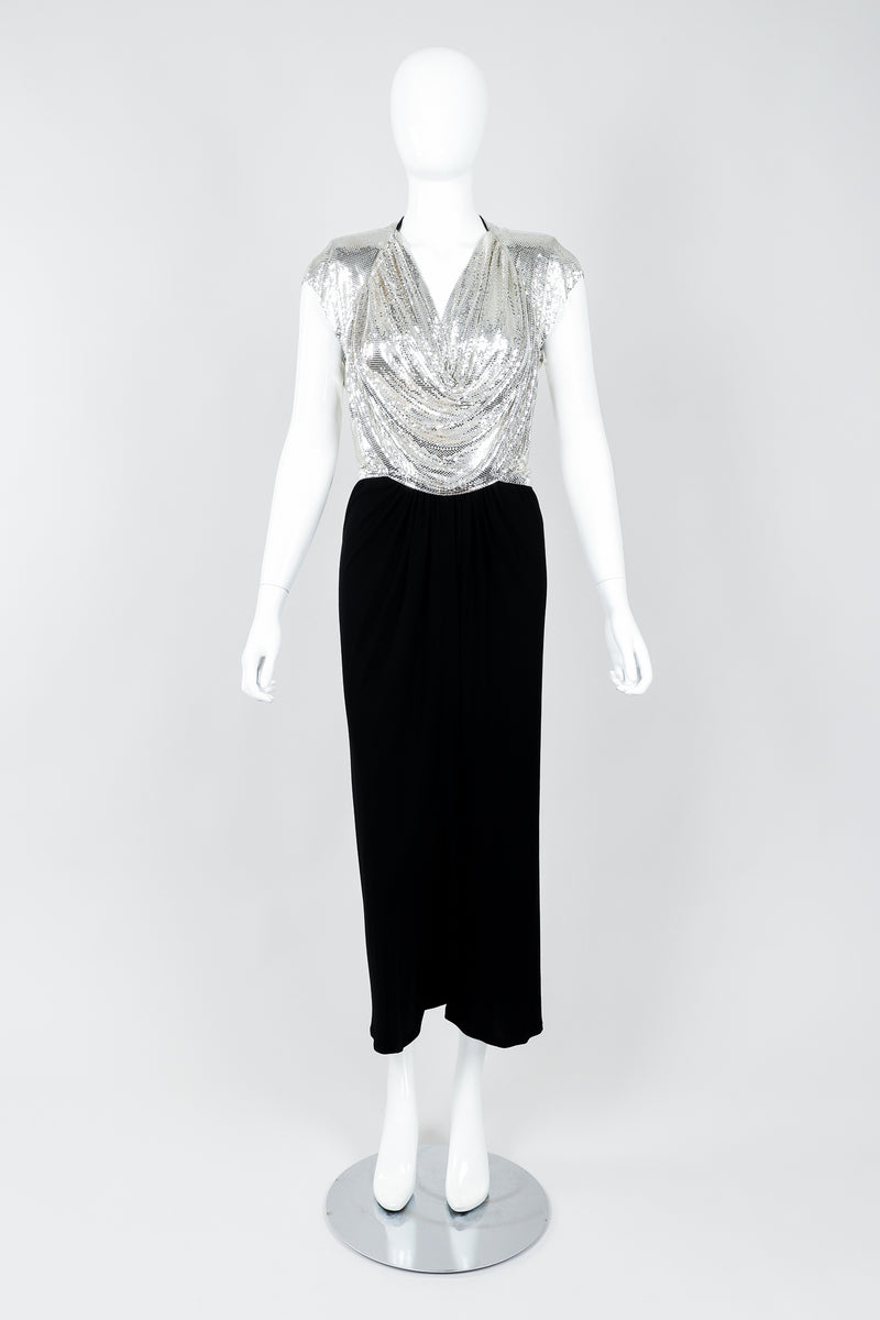 Vintage Anthony Ferrara Silver Metal Mesh Draped Cowl Dress on Mannequin front, at Recess