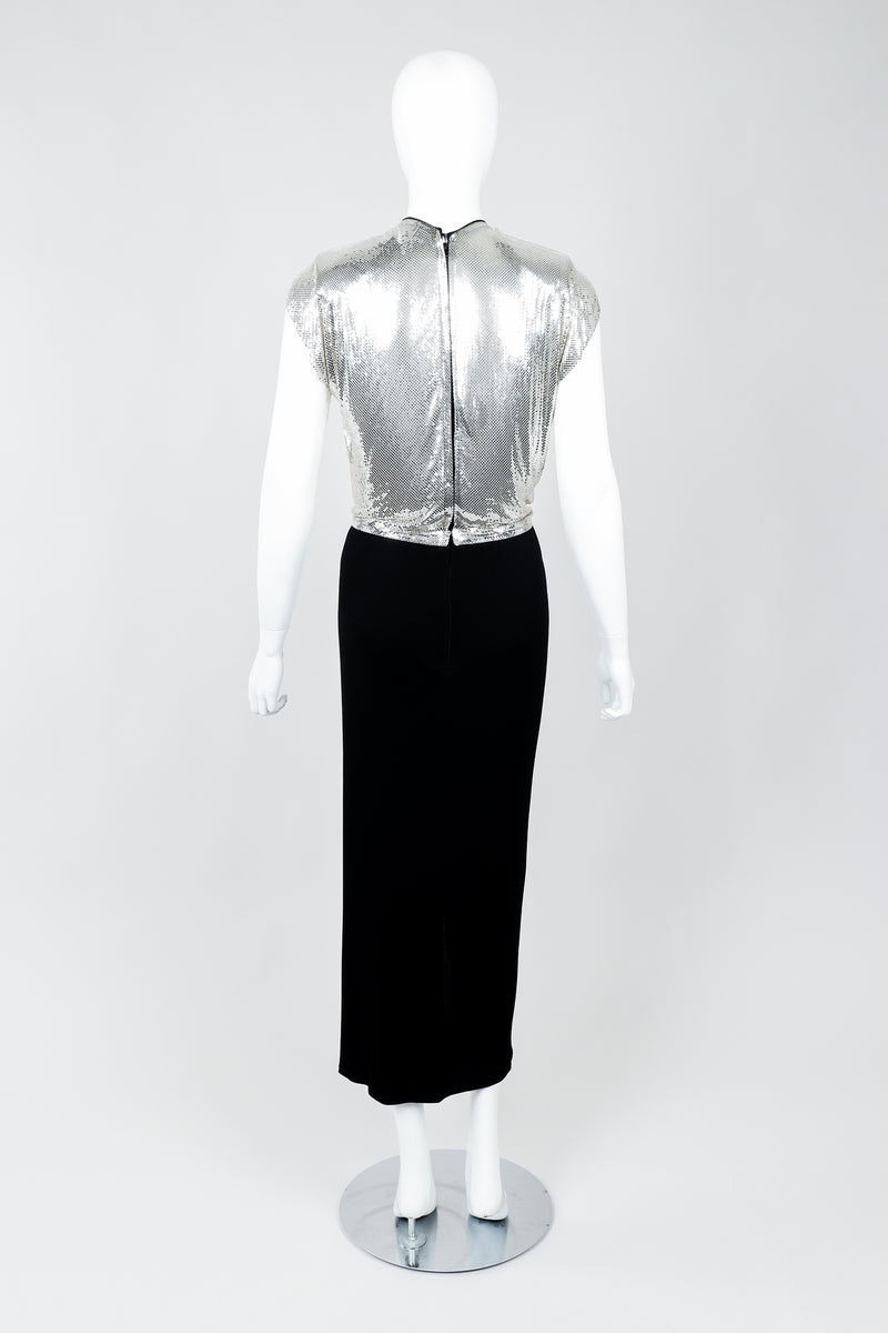 Vintage Anthony Ferrara Silver Metal Mesh Draped Cowl Dress on Mannequin back, at Recess