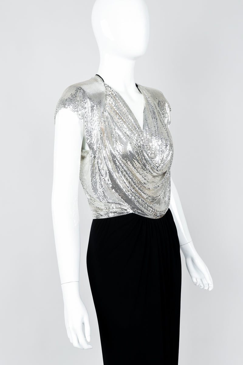 Vintage Anthony Ferrara Silver Metal Mesh Draped Cowl Dress on Mannequin cropped, at Recess